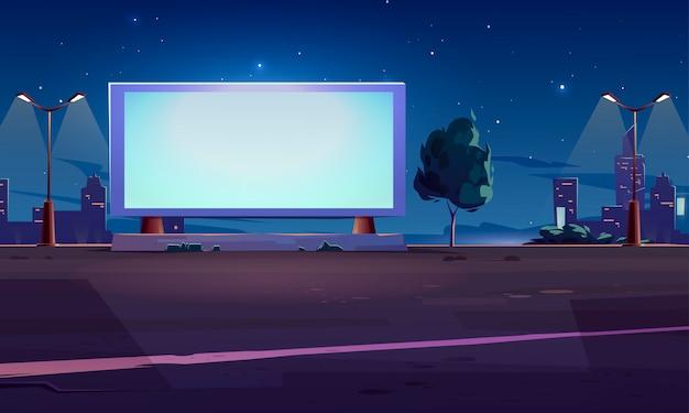 Пустой рекламный щит на обочине дороги, белый экран Бесплатные векторы