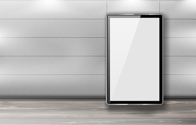 Blank billboards stand in row in office hallway Free Vector