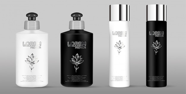 Blank black and white cosmetic package set isolated on gray background Premium Vector