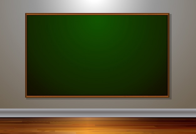 Blank blackboard in the room Free Vector