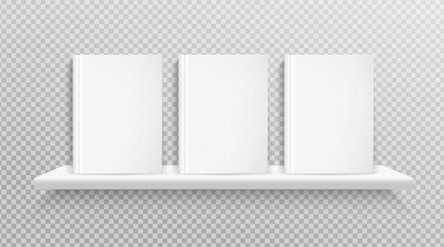Blank book cover, placed on bookshelf for design. Premium Vector