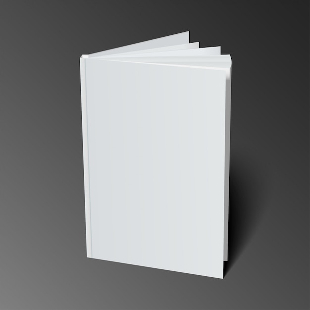 blank book cover template with pages in front side standing vector