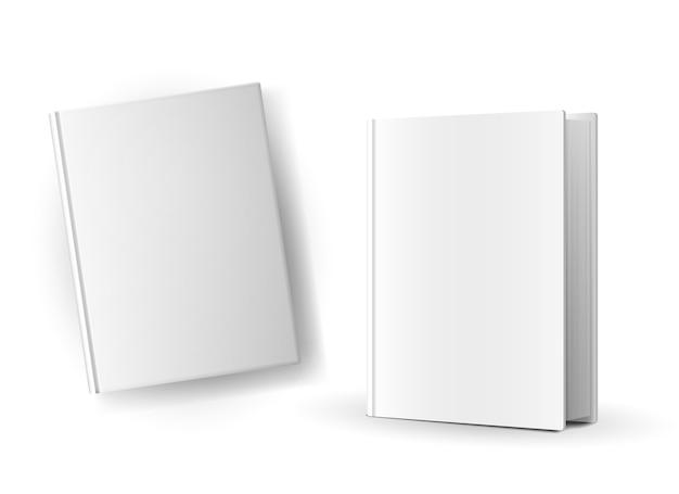 Copertine di libro in bianco isolate Vettore gratuito