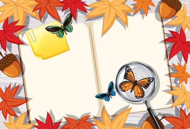 葉と昆虫の要素と事務テーブル上面図の空白の本のページ 無料ベクター