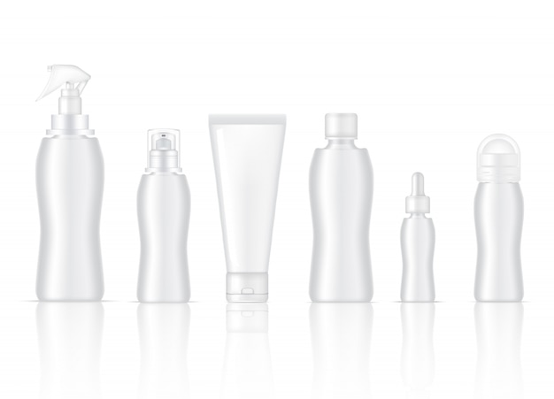 Blank bottle realistic skincare product spray, deodorant, foam soap, dropper serum, pump lotion and cleansing tube packaging Premium Vector