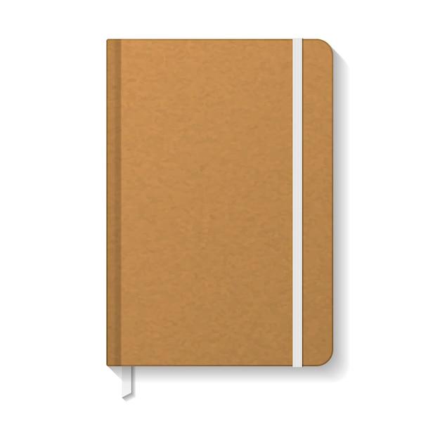 Чистая коричневая бумага крафт-бумаги с белым шаблоном закладки эластика и ленты. Premium векторы