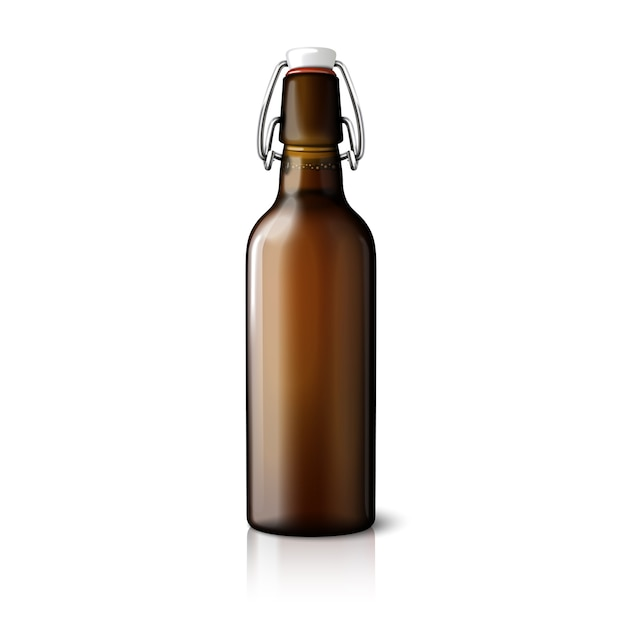 Blank brown realistic retro beer bottle isolated on white background Premium Vector