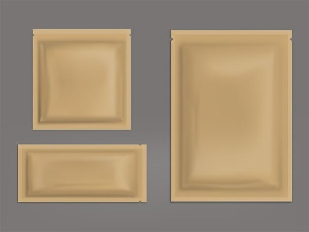 Пустые коричневые запечатанные пакетики реалистичные вектор набор Бесплатные векторы