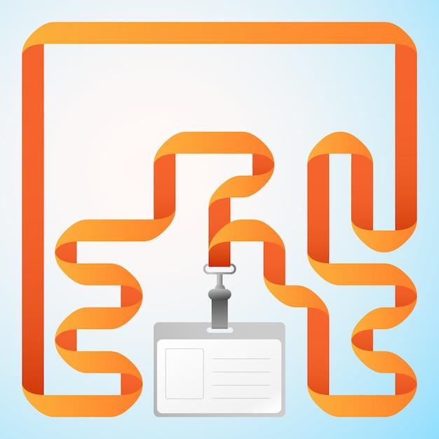 Пустое бизнес-пластиковое удостоверение личности с оранжевой лентой Бесплатные векторы