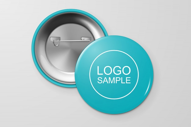 Blank button badge. Premium Vector