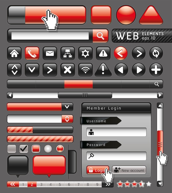 Blank buttons for website and app. Premium Vector