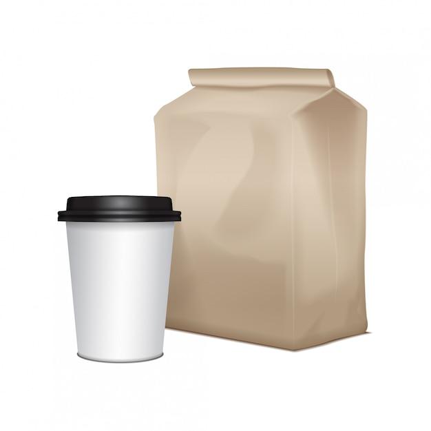 空白の段ボールは、コーヒーのカップでランチパッケージを奪います。サンドイッチ、食品、その他の製品の包装 Premiumベクター