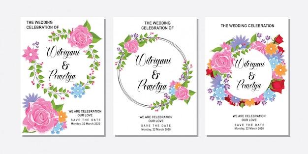 Blank circle pink roses frame for wedding invitation Premium Vector