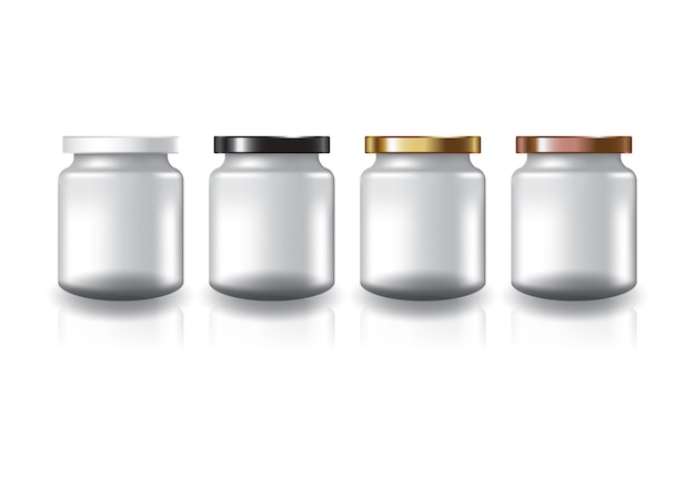 Blank clear round jar with four colors flat lid. Premium Vector