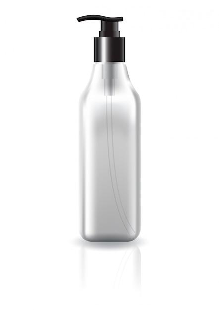 美容製品モックアップテンプレートの黒いポンプヘッドと空白の明確な正方形化粧品ボトル。 Premiumベクター