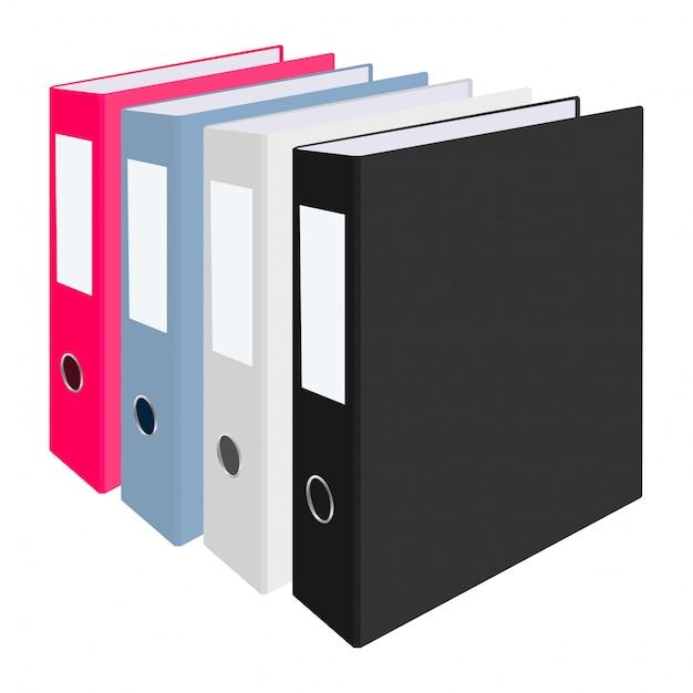 Blank closed office binders Premium Vector