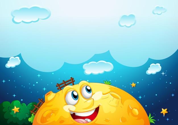 黄色い月のテンプレートと空白の雲 無料ベクター