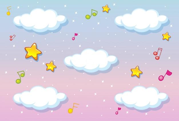 Пустые облака на фоне пастельного неба с темой мелодии Бесплатные векторы