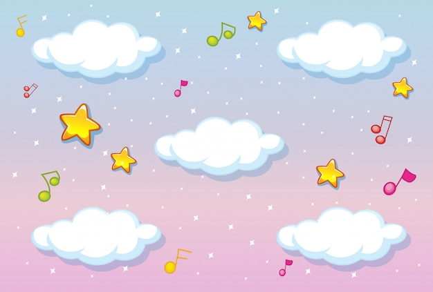 Blank clouds on pastel sky background with melody theme Free Vector