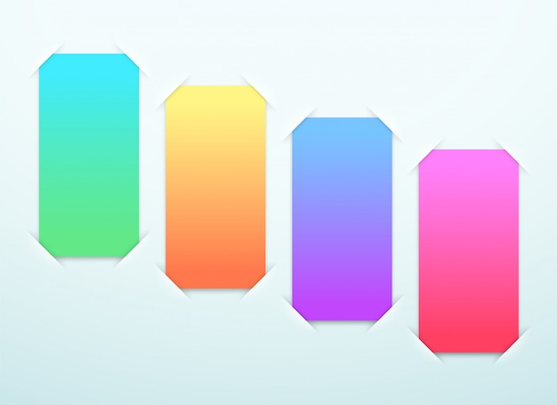 Blank colorful paper frames steps Premium Vector