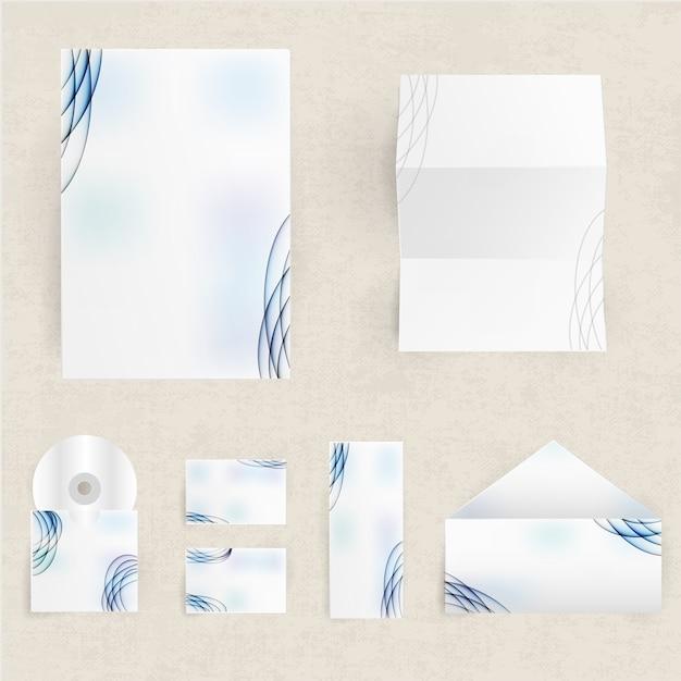 封筒カードと紙の空白のコーポレートアイデンティティセット 無料ベクター