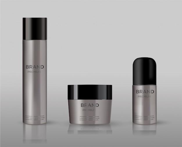 Пустой косметический пакет металла макет изолированы. металлическая трубка для пены для укладки волос, лака для волос, дезодоранта, крема. Premium векторы