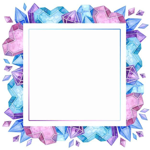 空白の結晶色フレーム手描きイラスト。 無料ベクター