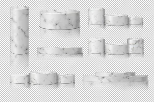 빈 실린더 대리석 템플릿 그림자로 설정합니다. 개념 연단 무대 쇼케이스 프리미엄 벡터