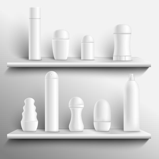 Blank deodorants on shelves realistic Free Vector