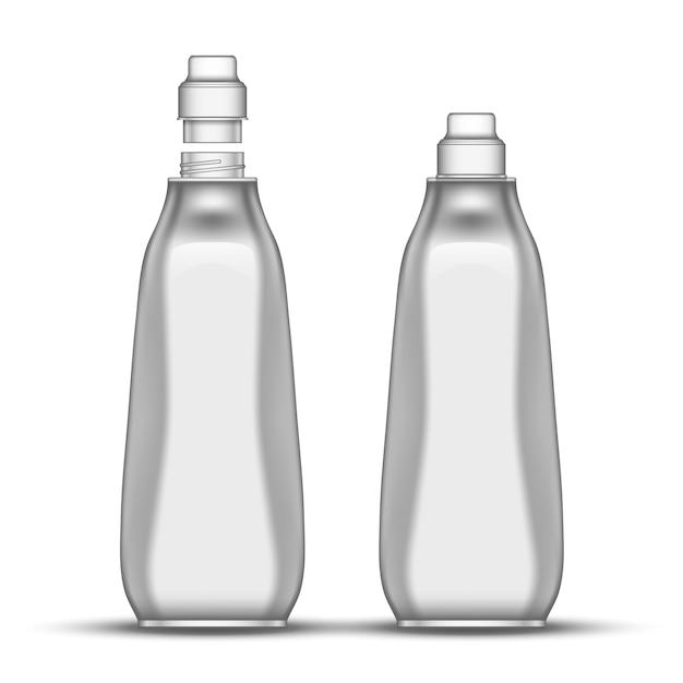 Blank dishwashing bleach plastic bottle Vector | Premium