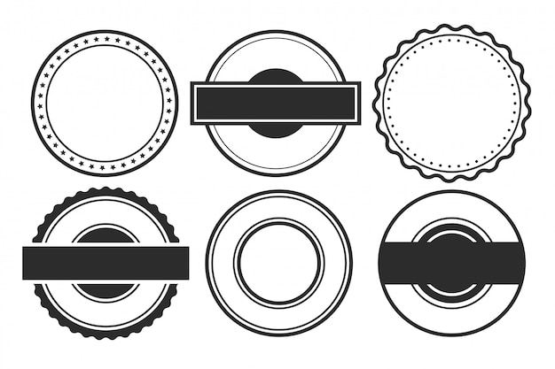 Blank empty circular stamps or labels set of six Free Vector
