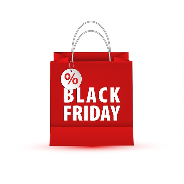 Blank empty shopping paper bag, red color for black friday Premium Vector