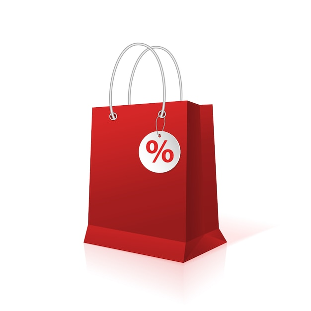 Blank empty shopping paper bag, red color Premium Vector