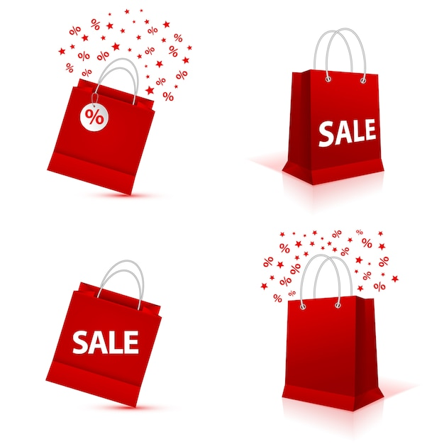 Blank empty shopping paper bag set, red color Premium Vector