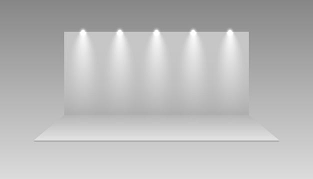 빈 전시 전시회 부스. 엑스포는 모형을 의미합니다. 이벤트 쇼룸 디자인, 고립 된 3d 전시 패널 프리미엄 벡터