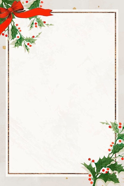 Blank festive rectangular christmas frame background Free Vector