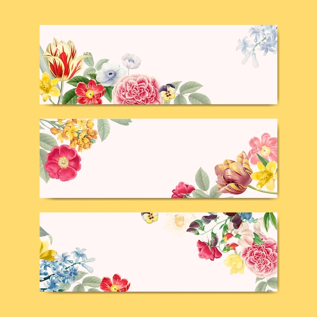 Blank floral banner copy space Free Vector