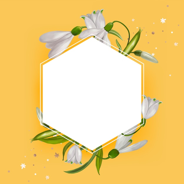 Blank floral frame design vector Free Vector