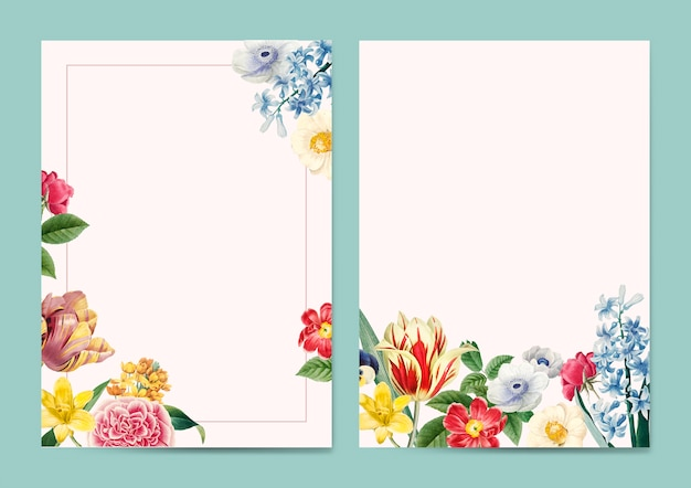 Blank floral invitation copy space Free Vector