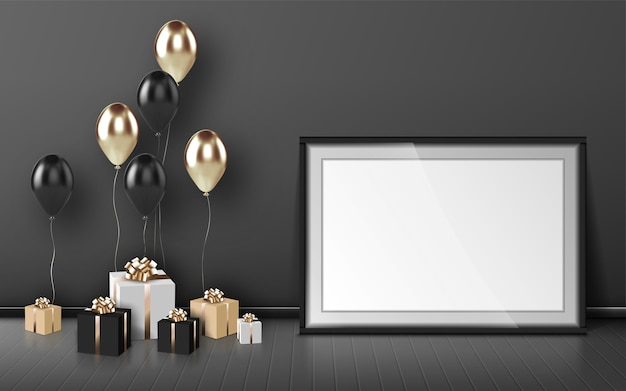 空白のフレーム、風船、灰色の壁の背景に金と黒の色のラップされたギフトボックス。誕生日おめでとう、空の境界線と部屋の木の床にプレゼント、現実的な3dベクトル 無料ベクター