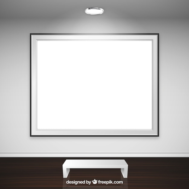 Blank frame in art gallery Free Vector