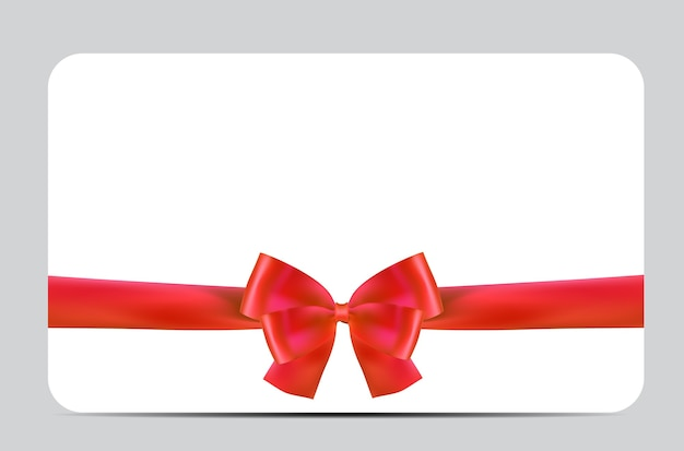 赤い弓とリボンの空白のギフトカードテンプレート。 Premiumベクター