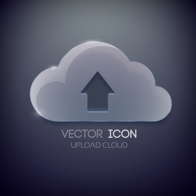 Blank glass cloud and up directed arrow Free Vector