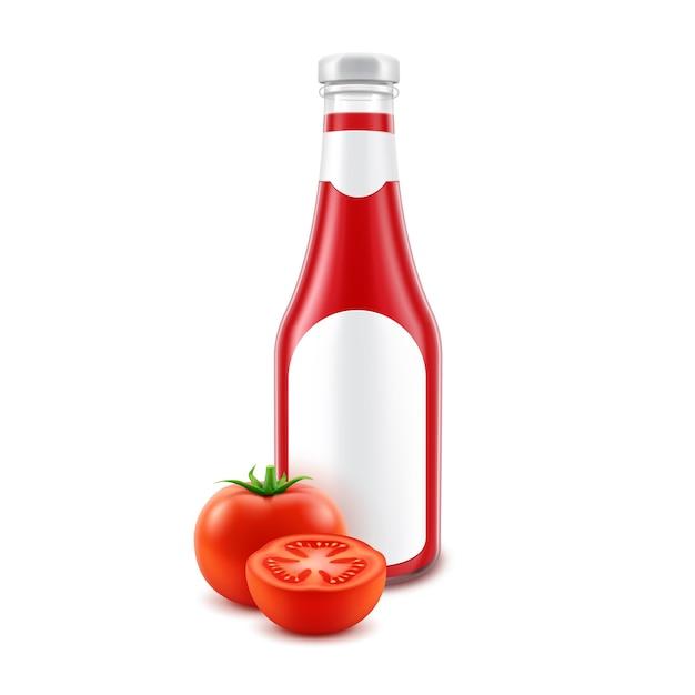 ラベルと白い背景で隔離の新鮮なトマトとブランディングのための空白のガラスの赤いトマトケチャップボトル Premiumベクター