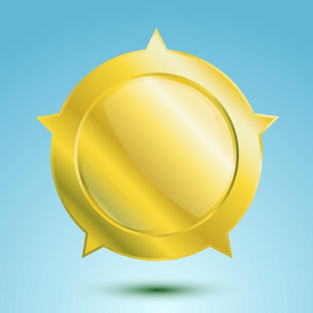 빈 금메달 또는 고립 된 빈 배지 무료 벡터