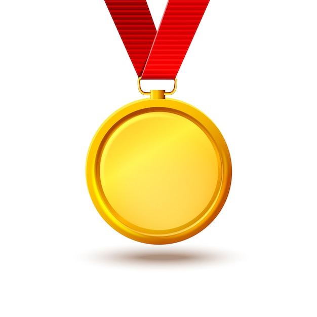 Blank gold medal on a red ribbon. template for about the ...