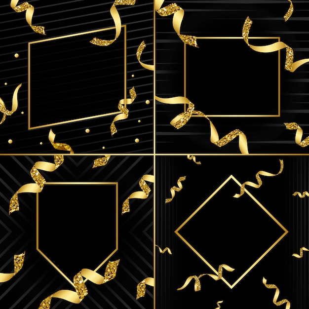 Blank golden emblem with confetti vector set Free Vector
