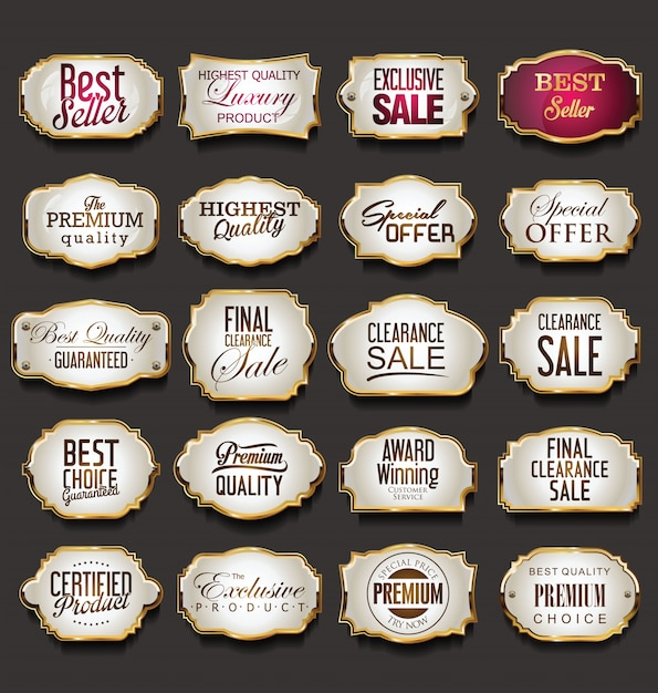 Blank golden frames and labels collection Premium Vector