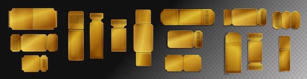 Макет пустых золотых билетов со штрих-кодом и пунктирной линией. Бесплатные векторы