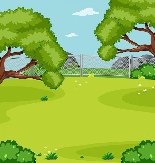 Пустой зеленый луг в парке Бесплатные векторы